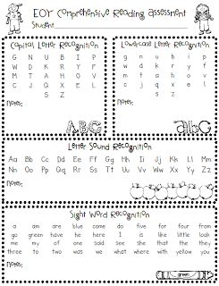 The Polka Dot Patch: Assessment Anyone, lots of great beginning/middle/end of year assessments for kindergarten and FREE!
