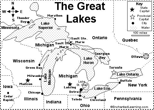 Great Lakes Map:  Also includes a fill-in-the-blank sheet to go with this!  (from Enchanted Learning)