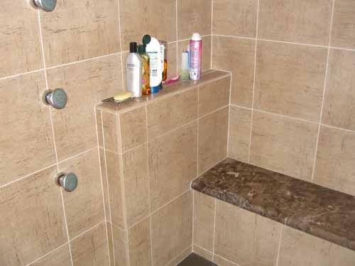 Shampoo Shelf & Bench with countertop: Bathroom Design, Tile Shower, Photo Shared