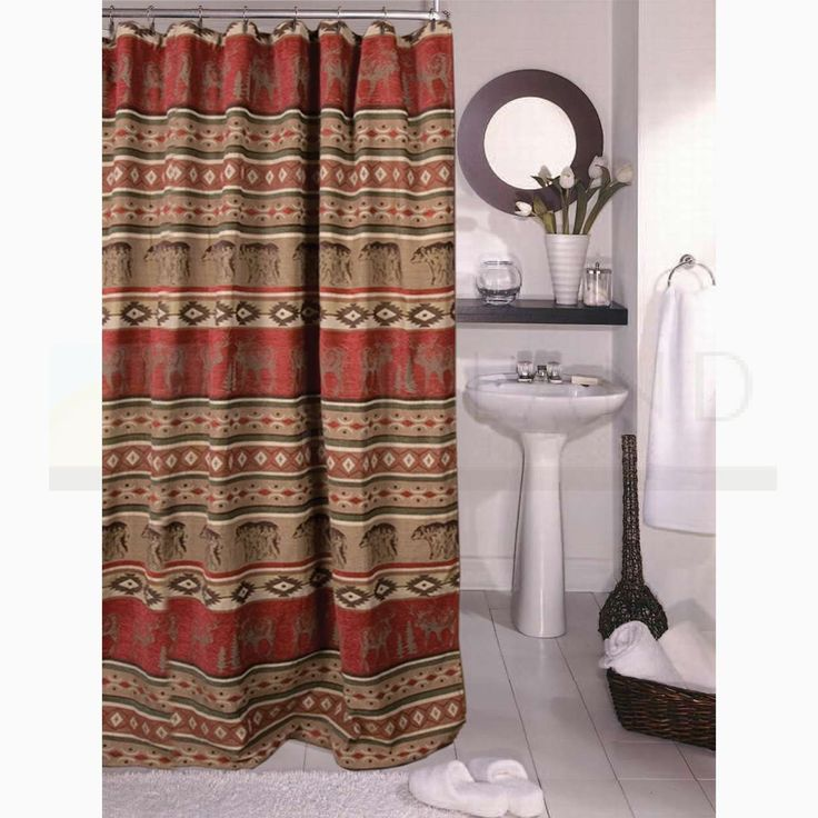Sunland home decor jb 1104 adirondack lodge shower for Adirondack bathroom ideas