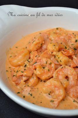 Scampis et saumon fumé, sauce crémeuse tomatée à l'estragon.