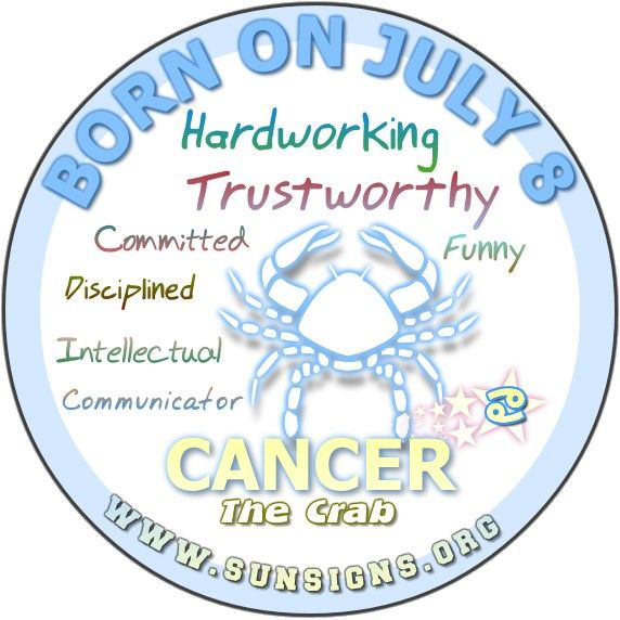 IF YOU ARE BORN ON JULY 8, your Birthday Horoscope reports that Cancer zodiac sign are funny and talkative individuals.
