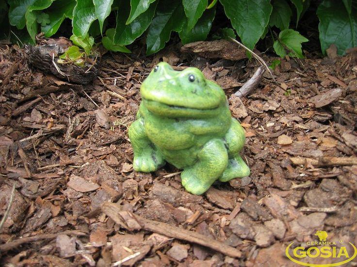 Żabka siedząca większa - figurka ceramiczna ogrodowa