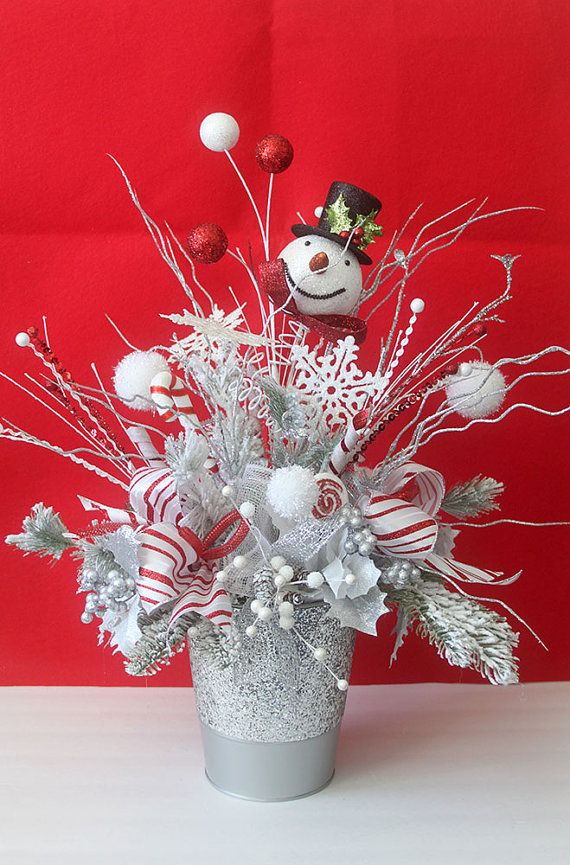 This extra large Snowman Christmas arrangement features a snowman winter theme so your Christmas arrangement will make a stylish accent to your holiday table or party.   Features: • Snowman • glitter silver metal container • Wired peppermint ribbons • Snow balls and snowflakes • Glittered berries • Flocked greens  Measures: 25 H x 18 W   Shop more Christmas Home Decor here: https://www.etsy.com/shop/Leopard?section_id=17246656&ref=shopsection_leftnav_2   Continue to shop/Back to shop/Keep…