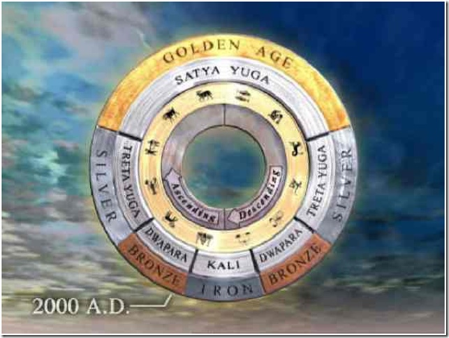 """""""Vedic time cycle has 4 main periods - the Satya yuga (golden age of innocence), Tretha Yuga, Dwapara yuga and Kali Yuga."""" note: We are currently in the early beginning stages of the Dwapara Yuga, leaving the separation oriented war and fear mongering Kali Yuga behind. the changes are slow, but the age of aquarius is surely here and a shift in consciousness has begun."""