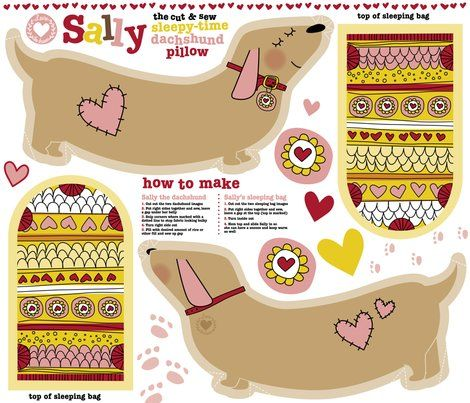 Weiner dog rice pack pattern!! & other wiener dog print fabrics at this site