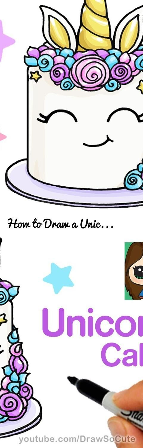 How To Draw A Unicorn Cake : unicorn, Unicorn, Easy..., Tags:, Step,, Drawing, Lesson,, Kids,, Drawing,