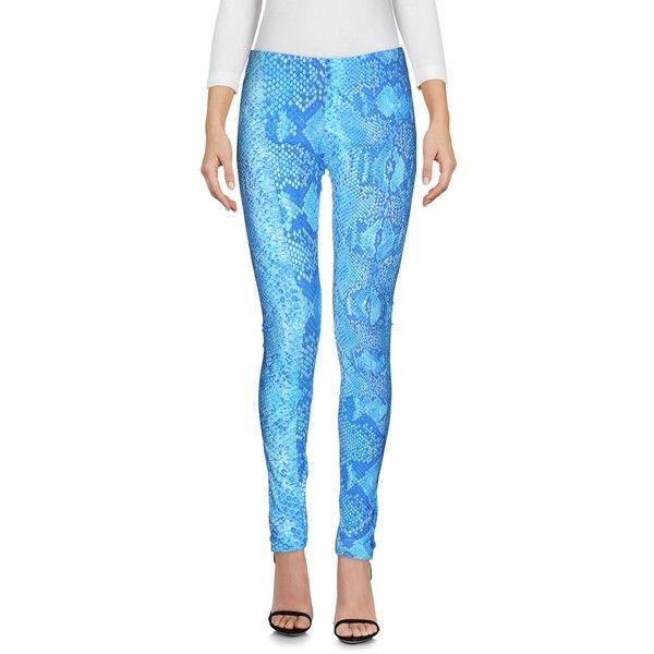Roberto Cavalli Gym  Leggings ($170) ❤ liked on Polyvore featuring pants, leggings, blue, blue jersey, animal print pants, legging pants, roberto cavalli and straight leg pants