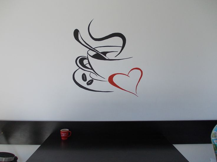 a coffee cup painted on the wall of the kitchen