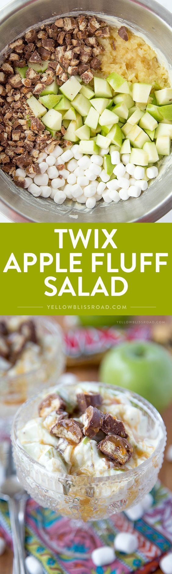Twix Apple Fluff Salad - with pineapple, caramel, marshmallows in a yummy vanilla Cool Whip dressing! Perfect dessert salad for picnics or potlucks!