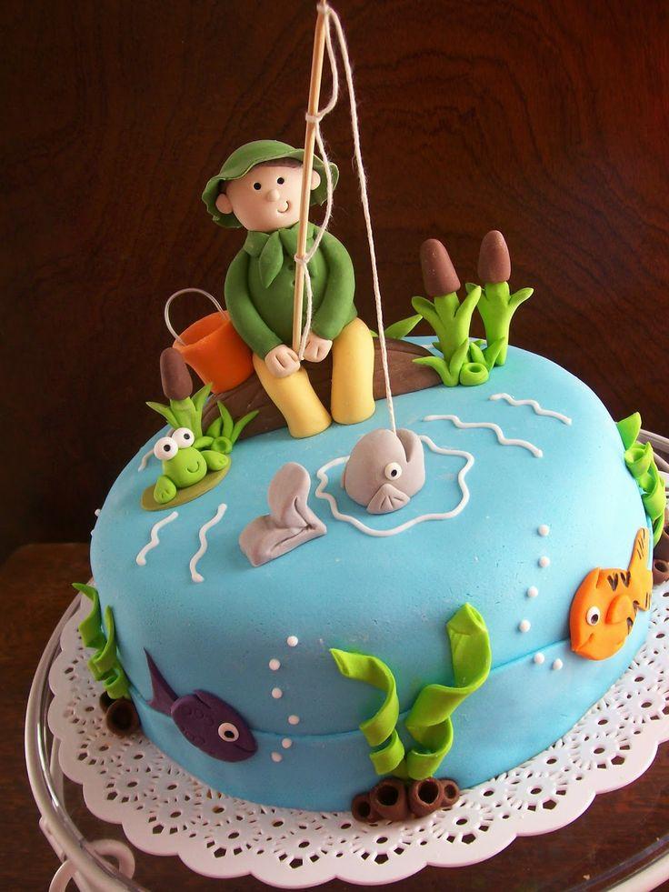 Торт с рыбаком фото