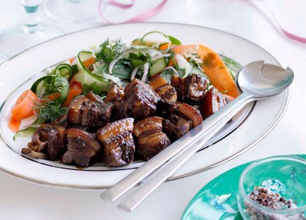 Australian Gourmet Traveller recipe for caramelised pork belly with Chinese coleslaw by Kylie Kwong.