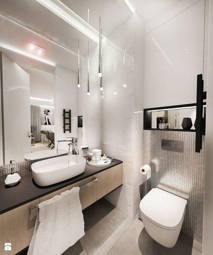 Projekt mieszkania W Warszawie 80 m2 - Mała łazienka w bloku bez okna, styl nowoczesny - zdjęcie od BIBI