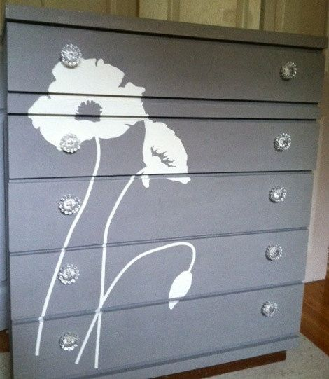 Chalk Painted Dresser with Flower Silhouette/vintage/bureau/chest/wax/painted furniture/distressed/shabby chic/eco friendly on Etsy, $375.00