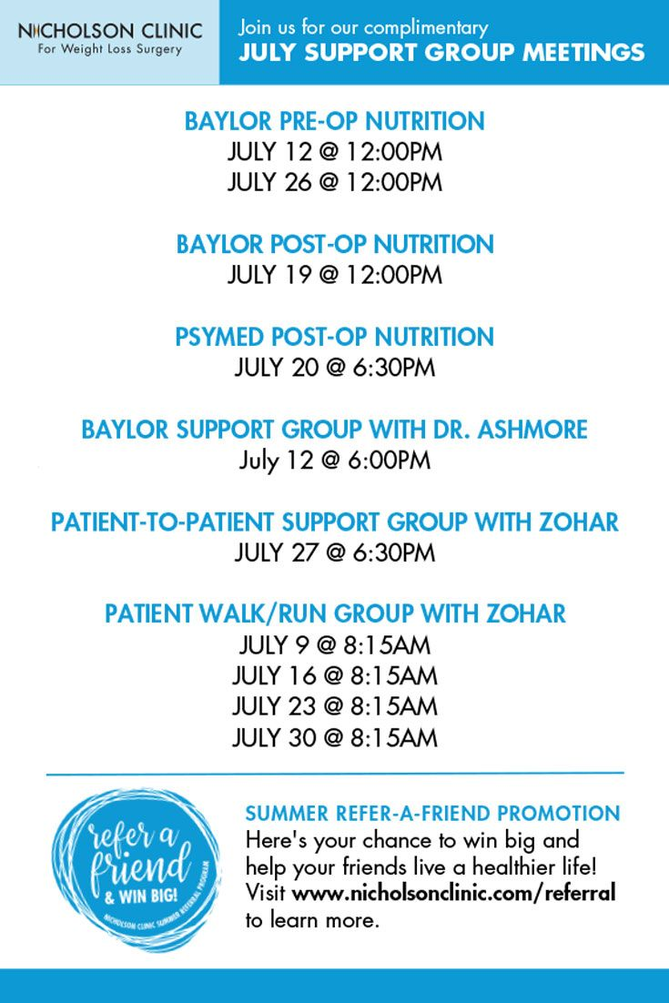 At Nicholson Clinic, we know that surgery is only part of the weight loss equation. That's why we've partnered with a team of experts - clinical psychologists, dietitians and fitness experts, and created a variety of support services, online and in person, to provide comprehensive support for life. Use this link to download a detailed version of our July calendar…