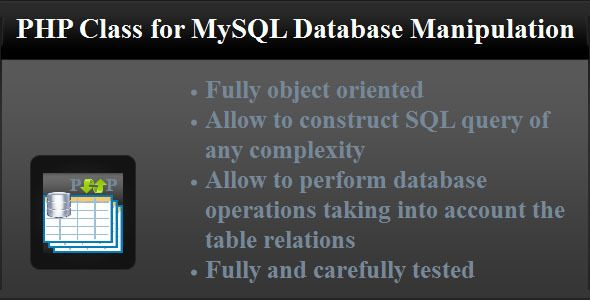 PHP Class for MySQL Database Manipulation