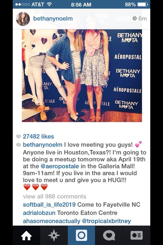 OMG I AM MEETING BETHANY TOMRROW!!