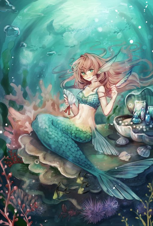 Red haired mermaid anime. | Anime Fairies, Spirits, and ...