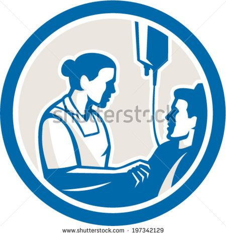 Illustration of a nurse tending a sick patient in bed with iv intravenous drip in background set inside circle done in retro style.