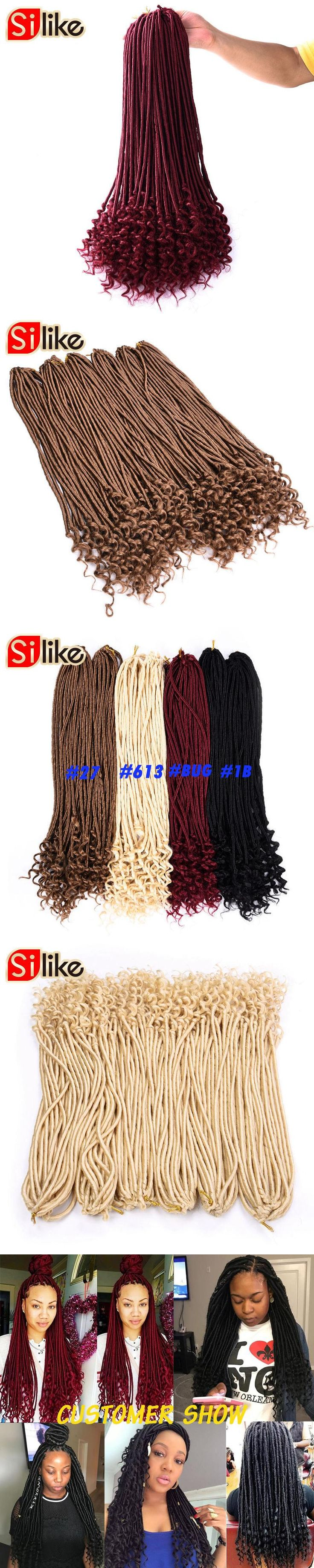 Silike 20 inch Crochet Braids Faux Locs Curly 24 Roots Synthetic Crochet Braiding Hair Extensions 90-100 g for Black women