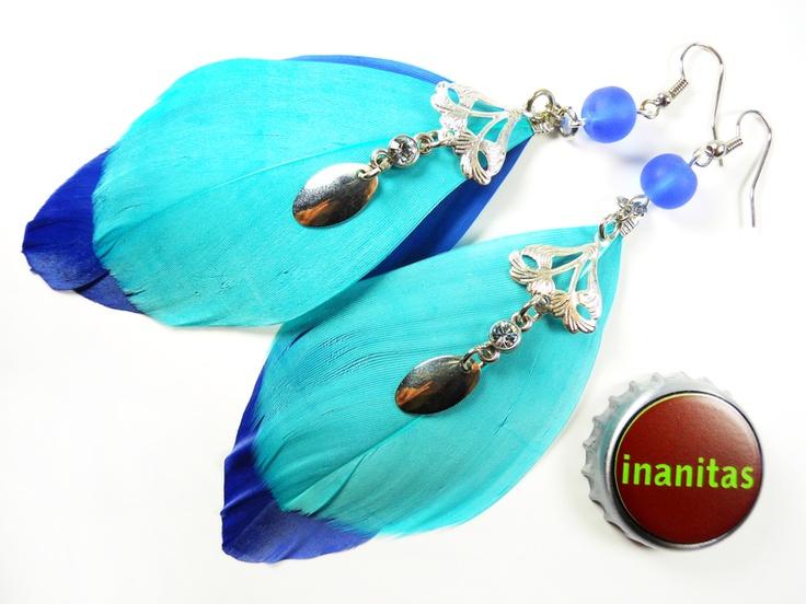 *OHRHÄNGER - Opulent & Federleicht*    Federleichte, opulente Ohrhänger mit je 2 großen Federn in Türkis & Blau, verarbeitet mit silberfarbenen Metall