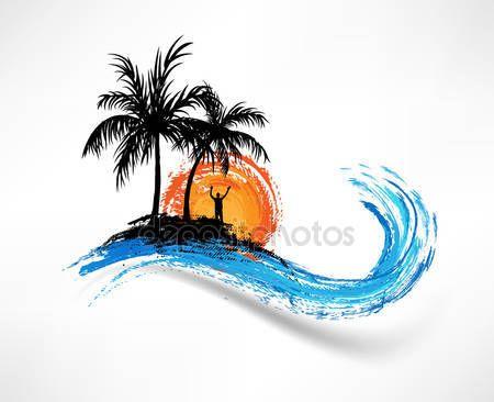 Scarica - Palme e oceano onda. uomo contro il tramonto — Illustrazione stock #13673050
