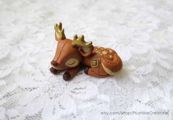 Clay Deer Figurine / Cute Polymer Clay Deer by PlushlikeCreatures