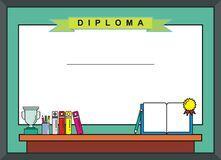 Children - Kindergarten certificate with blank board Royalty Free Stock Images