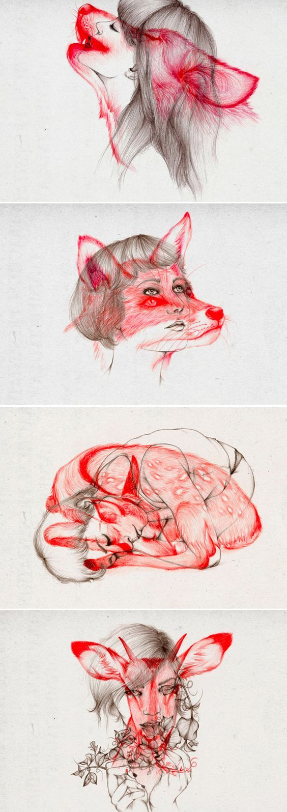 Girl drawings with woodland creatures overlaid Illustrations-par-Peony-Yip-2: