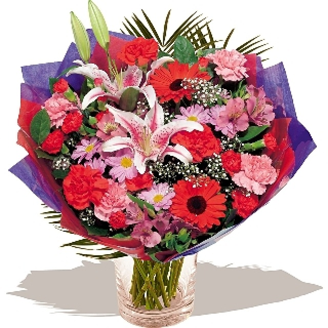 Flowers -  Love Match Hand-tied bouquet in shades of red. www.eden4flowers.co.uk