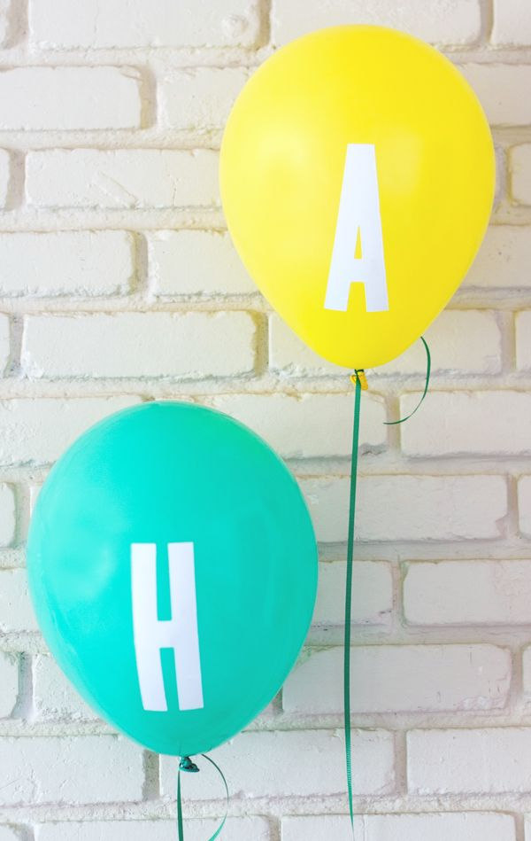 Letter decal party balloons easy DIY stuck on with boat stickers!!