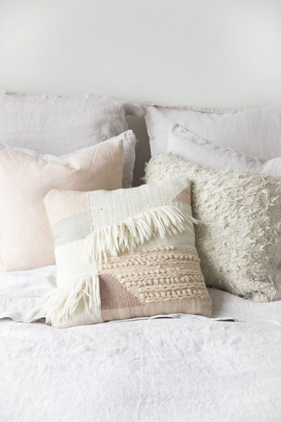 Muted neutrals pillows for bed via Design Love Fest