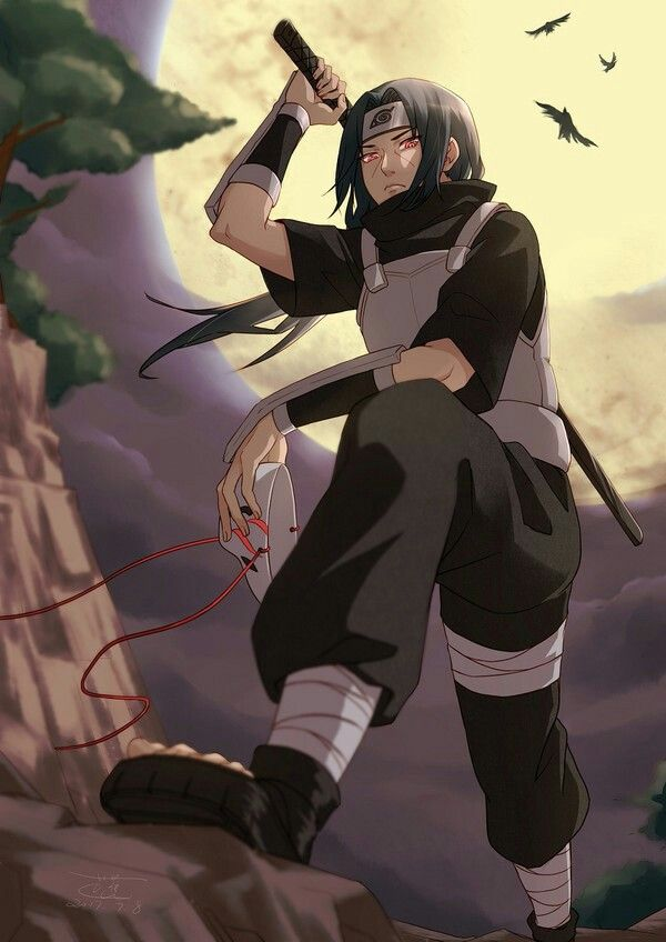 A young Itachi before he slaughtered the Uchiha clan and defected to the Akatsuki. He can be seen holding his ANBU black ops mask while resting on a rock.