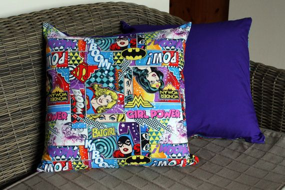 Girl Power Cushion Cover Batgirl Supergirl by BlossomvioletCrafts