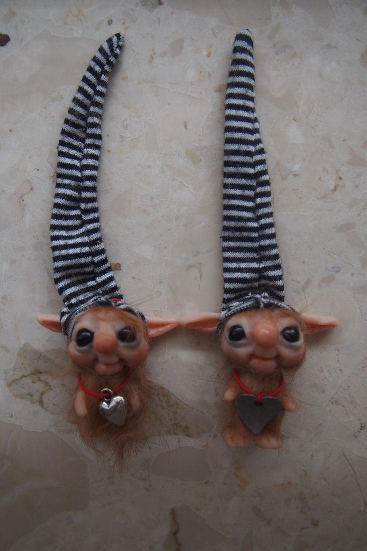 OOAK fantasy art doll mini troll gnome FELEK 2 & FELEK 3 by muyestillo