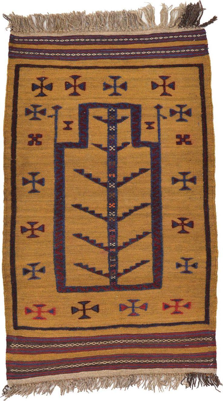 Gold 2' 8 x 4' 4 Kilim Afghan Rug | Area Rugs | eSaleRugs