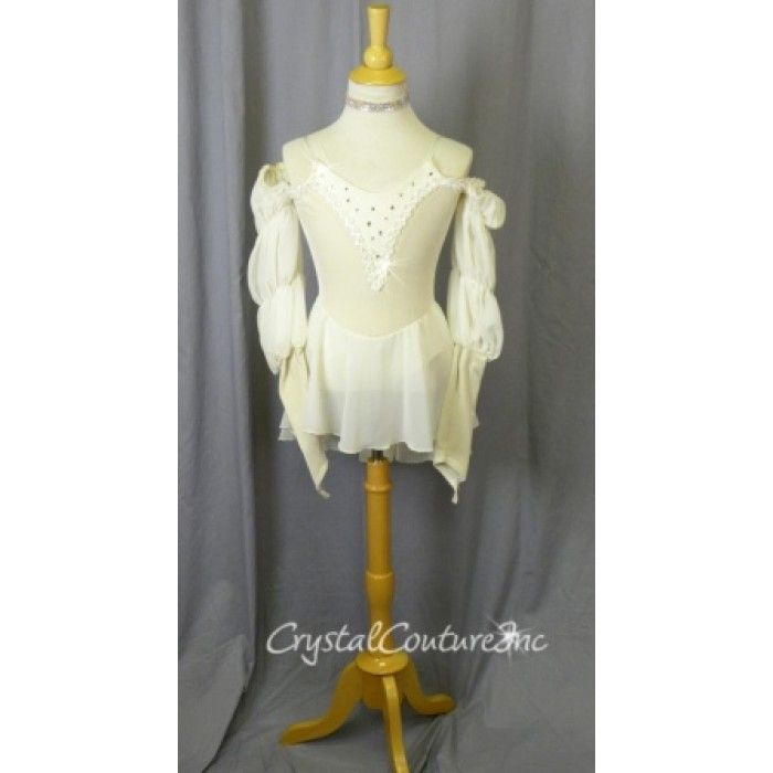 Encore Costume Couture   Ivory Velour Bodice with Chiffon Skirt - Size YM - Lyrical - Costumes