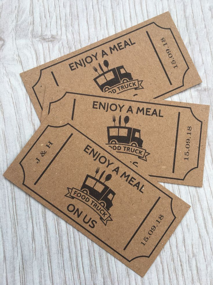 Food Truck Tickets – Wedding Personalised 50 Kraft Card – Coupons Wedding Meal Tokens Party Cards Custom event Meal Ticket Food Voucher Bar