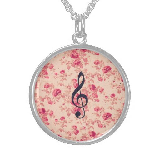 #Vintage #Music #Note #Treble Clef #Chic #Pink #Flowers #necklace from @girly_road