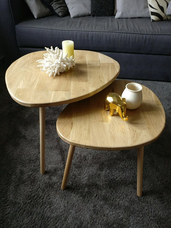 Double Low Scandinavian Way Nesting Table Foot Oak Wood And Copper Table Nesting Tables Vintage Table