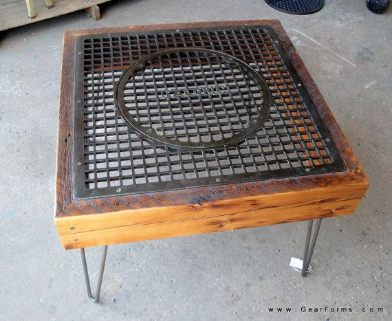Antique Heating Grate Reclaimed Wood Beams Coffee Table W Hairpin Legs By
