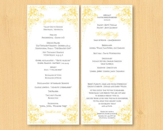 DIY wedding printable program template for MS by DIYWedTemplate