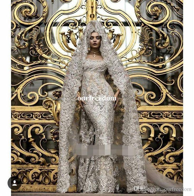 2017 Arabic Muslim Wedding Dresses Luxury Sequined Arabic Wedding Bridal Gowns Silver Appliques Beads Muslim +Veil Custom Made