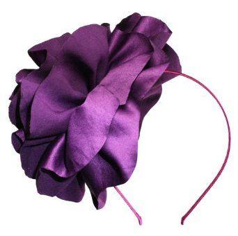 LibbySue-Large Flower Headband Fascinator in Plum Purple LibbySue. $49.00