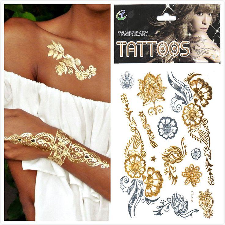 Новые Временные Татуировки водонепроницаемые украшения Прибытие 1шт / много Tatuagem Золотой Серебряный цветок Тату для рисования Body Art