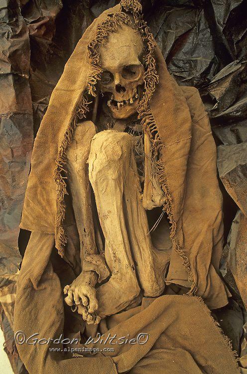 Chachapoyan (pre-Incan) mummy at cultural museum in Chachapoyas, Peru.