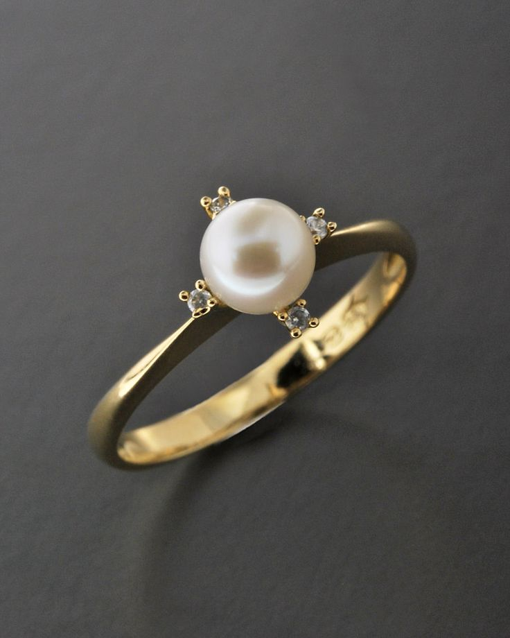 Δαχτυλίδι χρυσό Κ14 με Μαργαριτάρι & Ζιργκόν