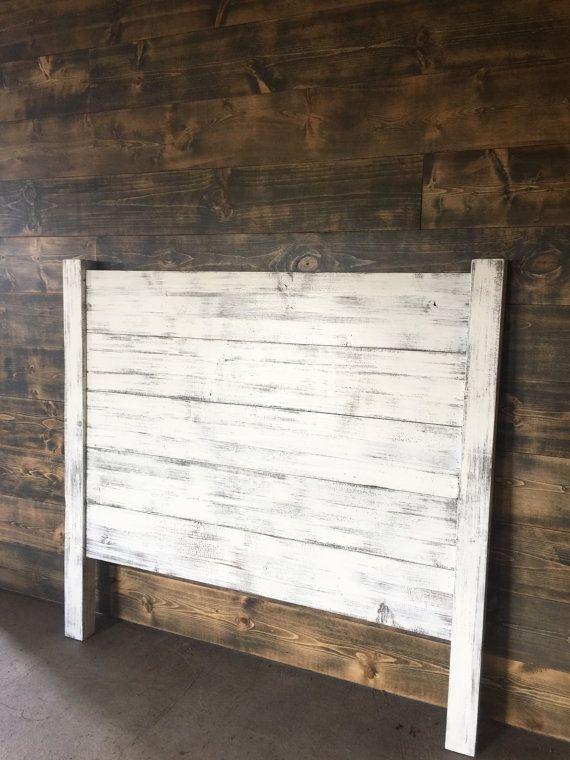 shiplap headboard distressed white by jnmrusticdesigns on etsy
