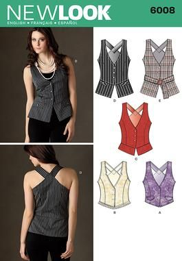 Womens vest with length and trim Sewing Pattern 6008 New Look
