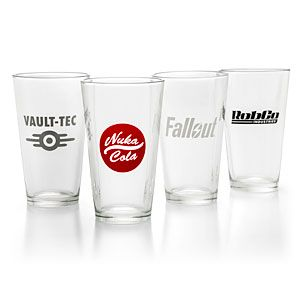 Get a buff to your charisma and increase the happiness in your settlement, by serving up some Nuka-Cola or Gwinnett Brew in this set of four Fallout-themed pint glasses. Includes Vault-Tec, RobCo Industries, Nuka-Cola, & Fallout logos.